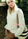 Белый пуловер с красивыми структурными узорами и поперечной кокеткой. Спицы