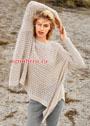 Свободный пуловер-пончо с ажурным узором. Спицы