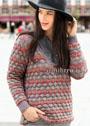Трехцветный пуловер с заниженным вырезом горловины. Спицы