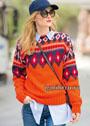Яркий оранжевый пуловер с жаккардовой кокеткой. Спицы