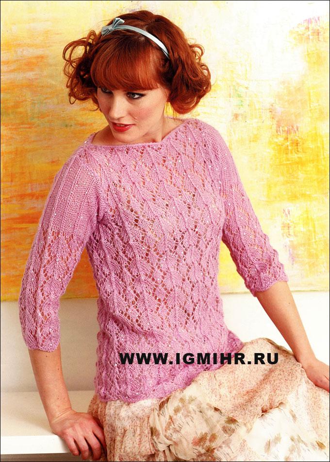 Вязание - сверкающий трикотаж из пряжи с пайетками. розовый .