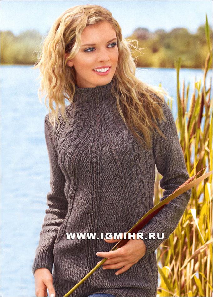 Теплый коричневый пуловер с