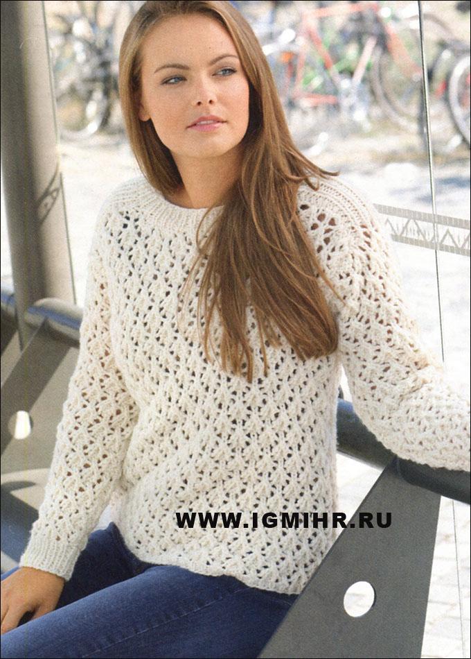 Белый ажурный пуловер, из