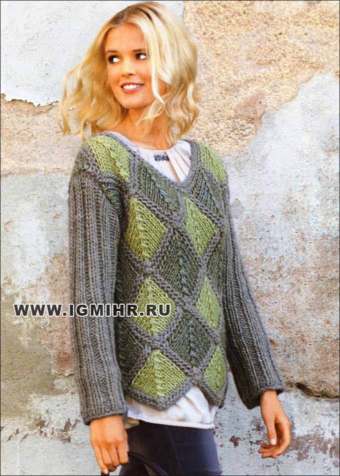 Трехцветный пуловер из объемной пряжи, с ромбами и треугольниками. Спицы