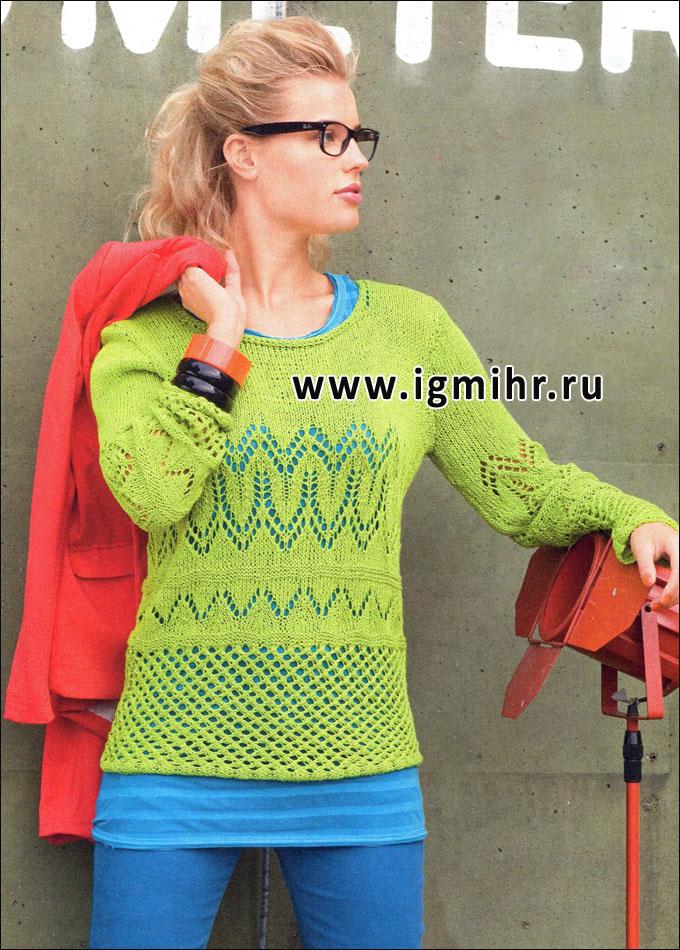 Яркий узорчатый пуловер цвета киви. Спицы