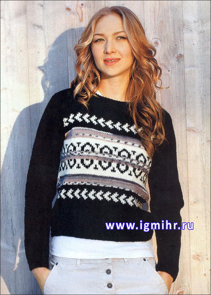 Черный пуловер с жаккардовым орнаментом, от финских дизайнеров. Спицы