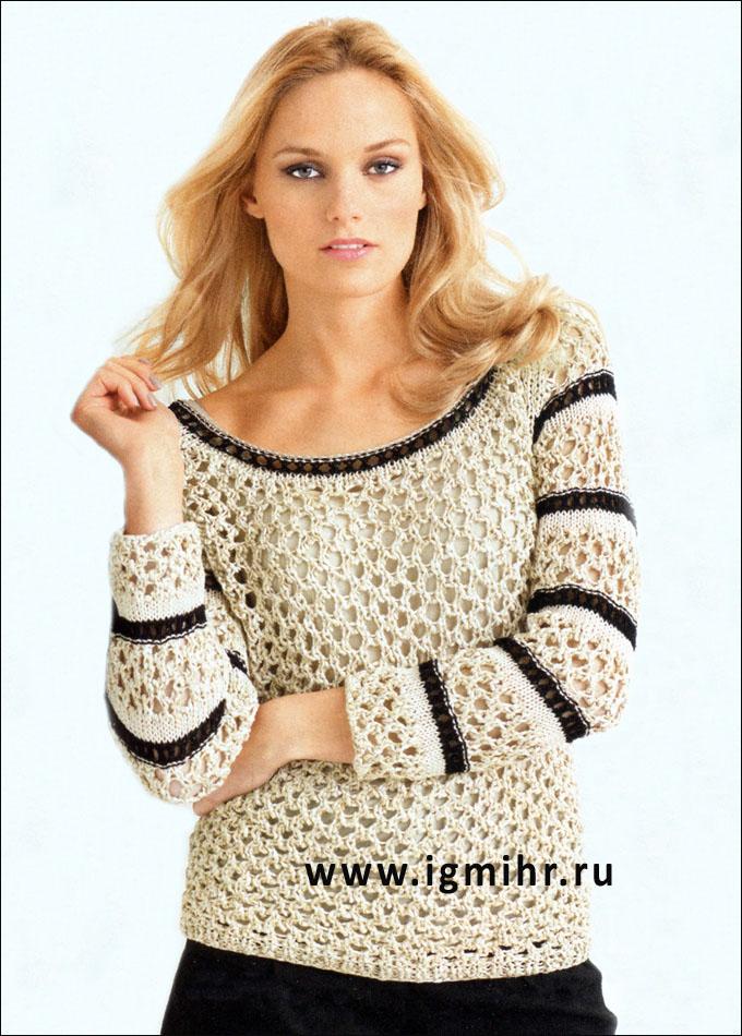 Бежево-черный ажурный пуловер. Спицы