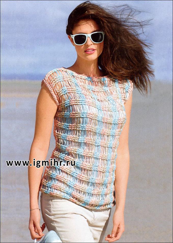 Легкий летний пуловер со спущенными петлями, связанный поперек. Спицы