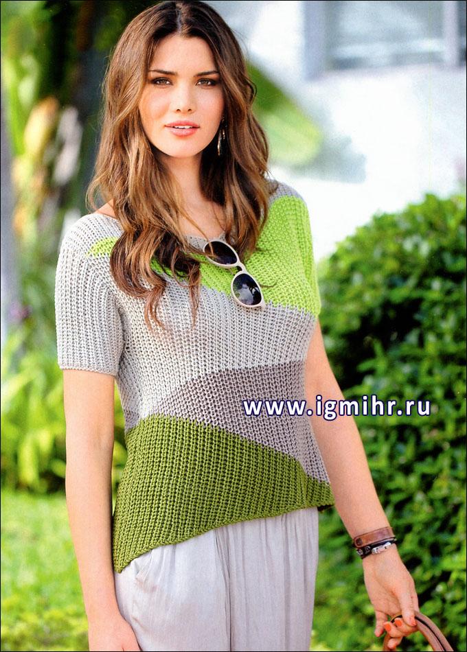 Бежево-зеленый пуловер с короткими рукавами. Спицы