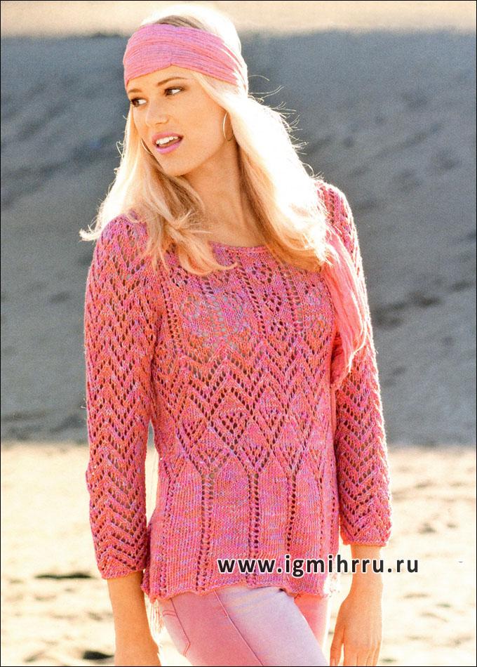 Узорчатый меланжевый пуловер. Спицы