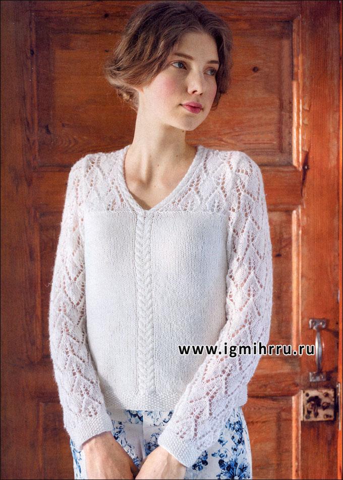 Нежный белый пуловер с ажурным узором, от финских дизайнеров. Спицы