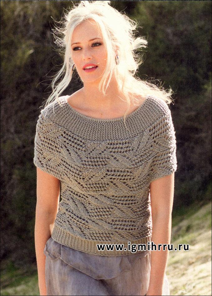 Летний пуловер цвета хаки, связанный поперек. Спицы