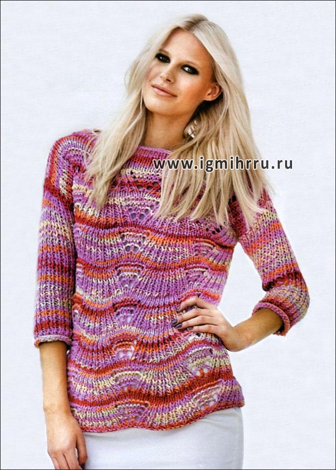 Меланжевый пуловер сочных оттенков, от финских дизайнеров. Спицы