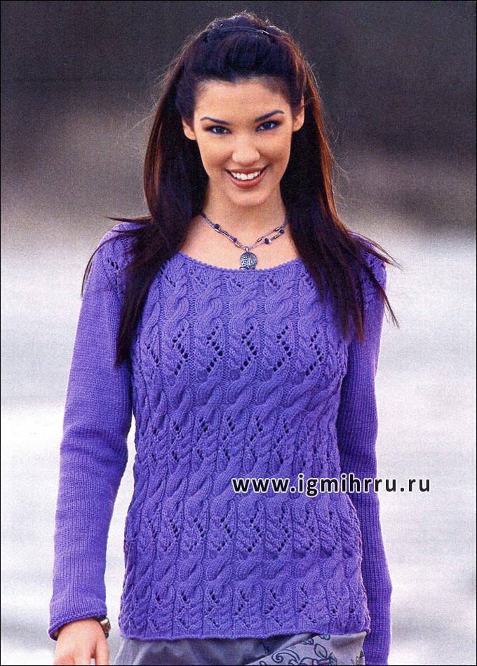 Фиолетовый узорчатый пуловер. Спицы