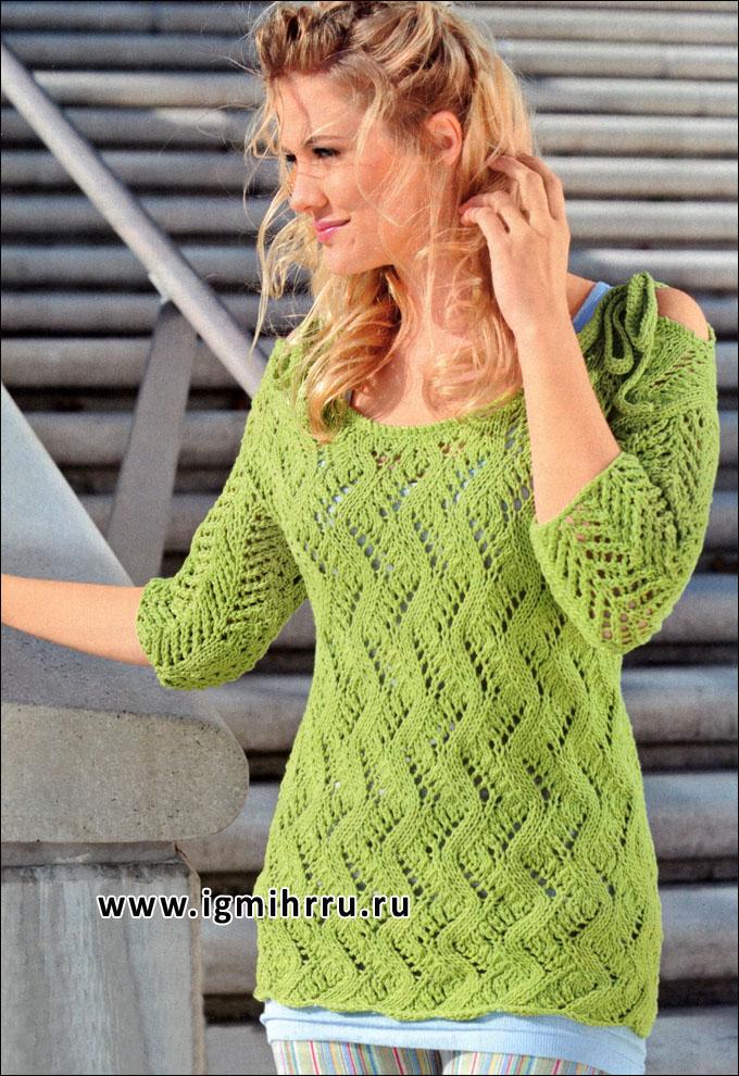 Светло-зеленый ажурный пуловер с кокетливыми завязками. Спицы