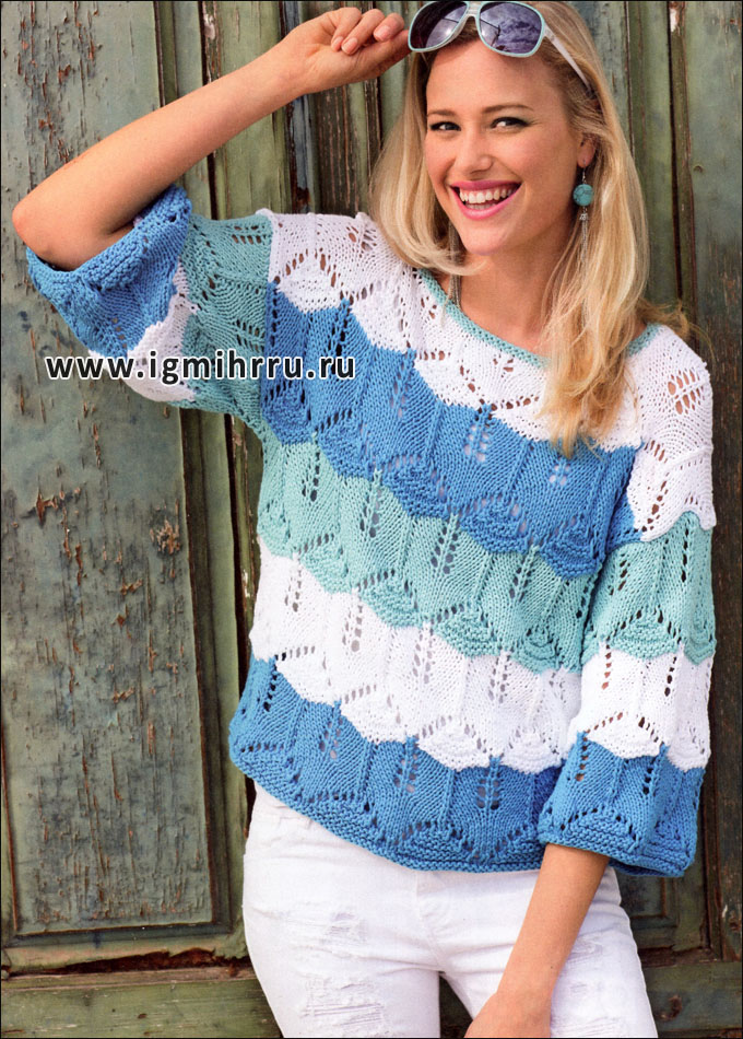 Ажурный пуловер из широких разноцветных полос. Спицы
