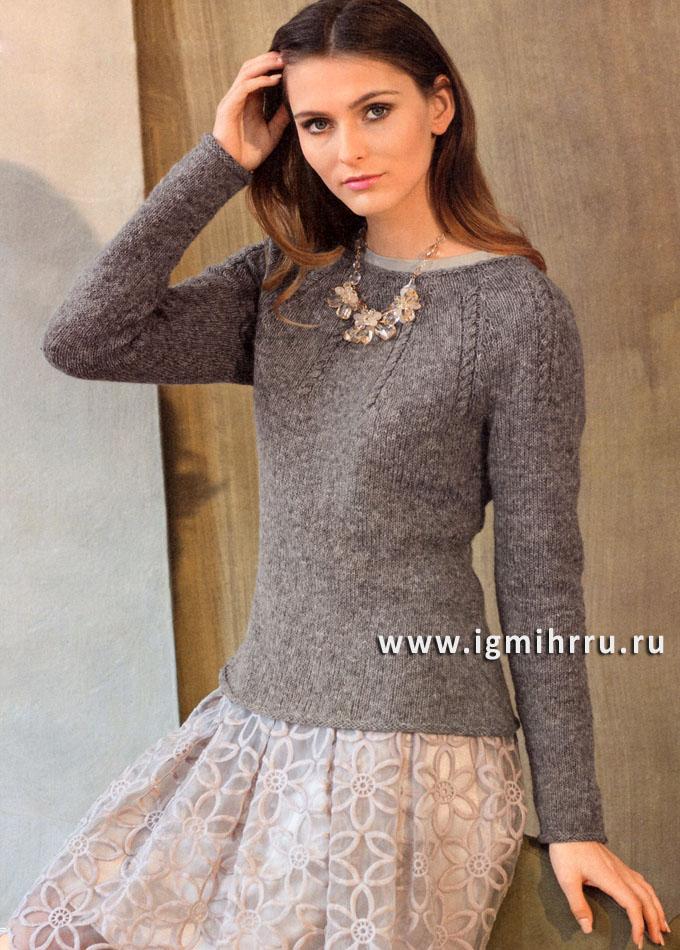 Стильный минимализм! Серо-розовый пуловер с круглой кокеткой