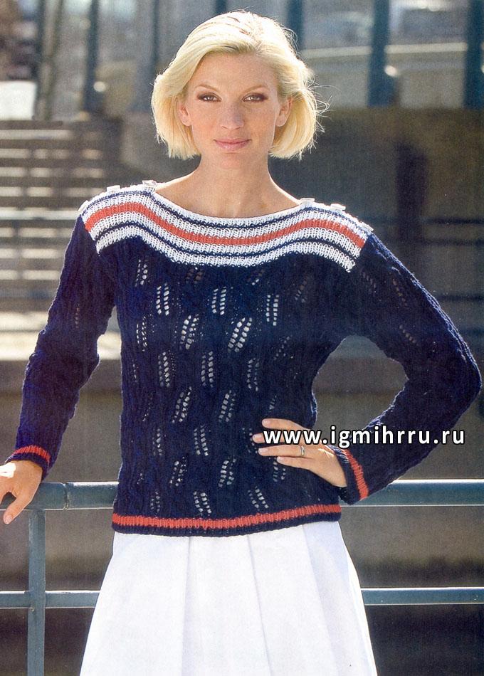 Темно-синий пуловер с ажурным узором и полосками, от финских дизайнеров. Спицы