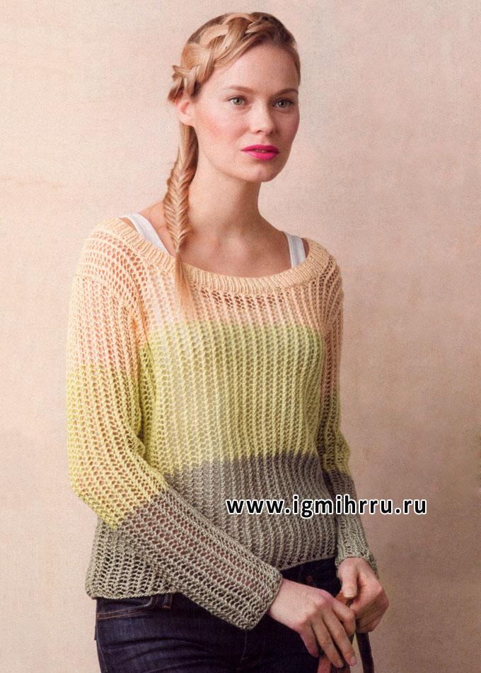 Просто и симпатично! Легкий трехцветный пуловер, от финских дизайнеров. Спицы