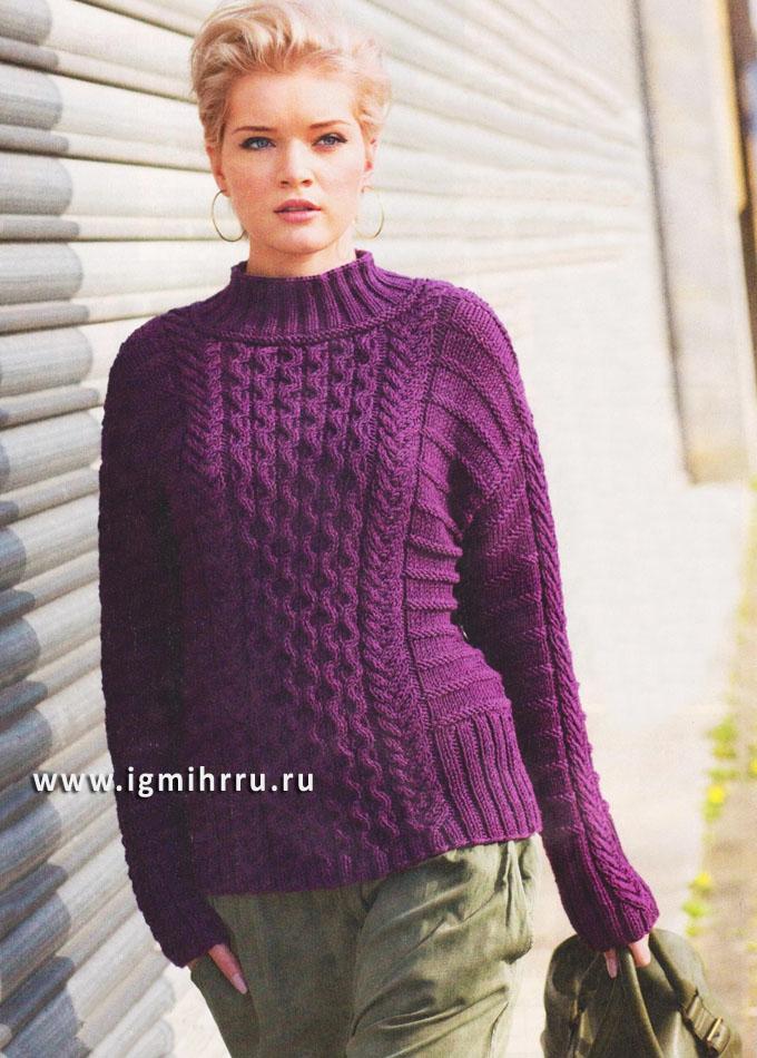 Микс выразительных узоров. Теплый фиолетовый пуловер. Спицы