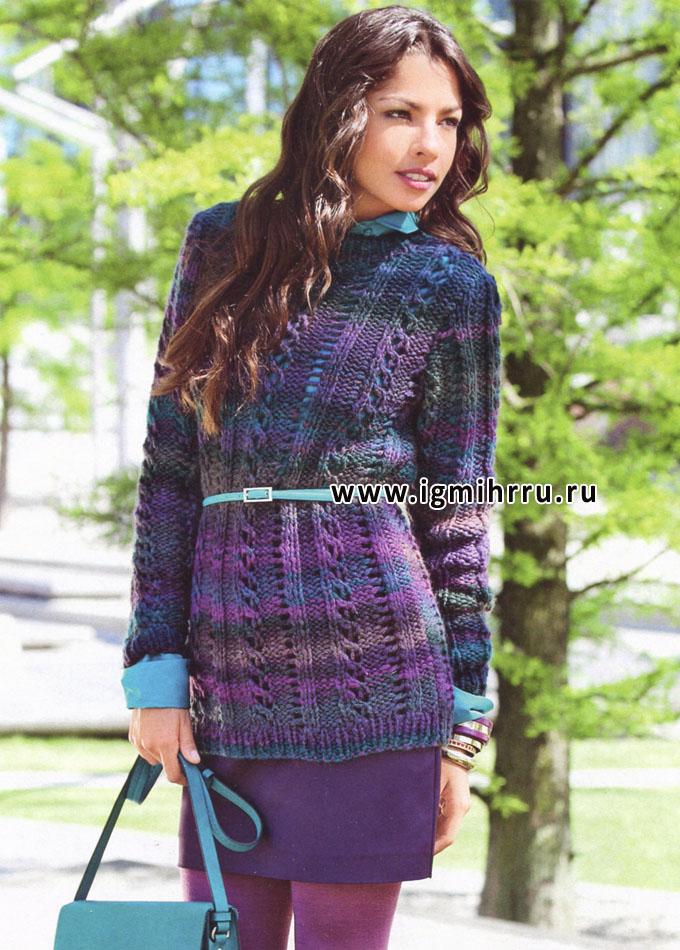 Меланжевый пуловер в сиреневых тонах, от Verena. Спицы