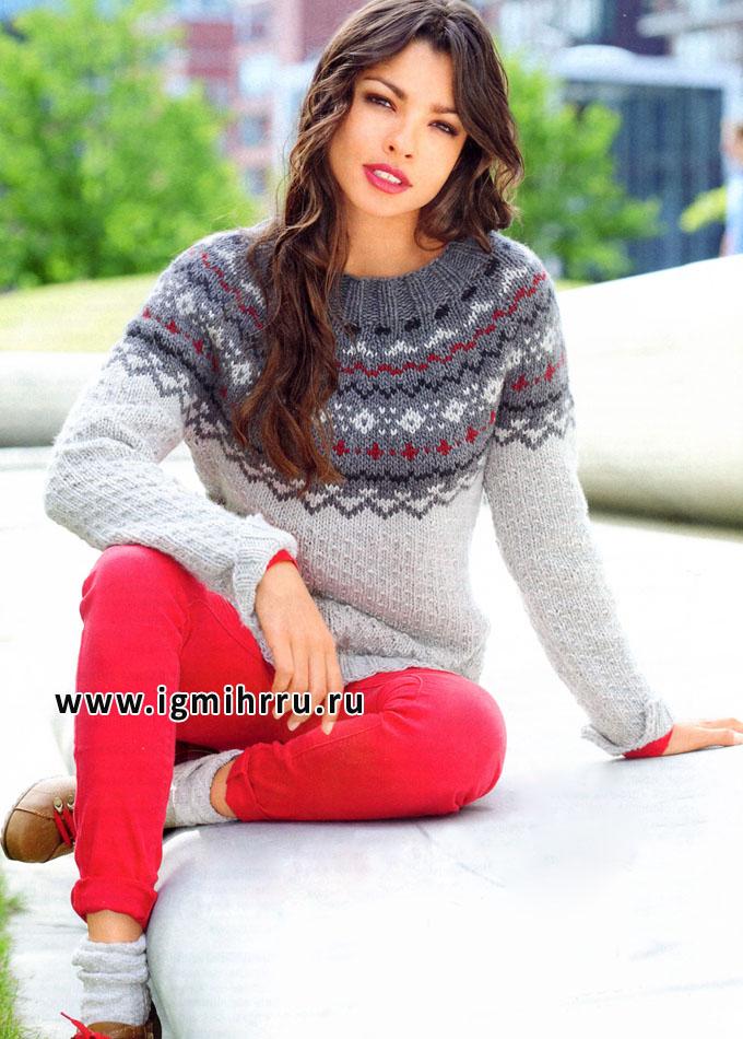 Кашемировый пуловер с круглой жаккардовой кокеткой, от Verena. Спицы