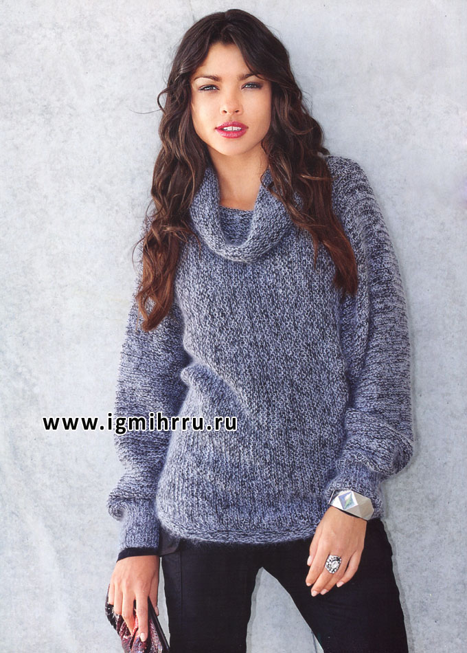Просто, тепло, комфортно! Цельновязаный пуловер цвета серый металлик, от Verena. Спицы