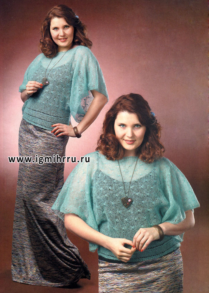 Леди ШИК! Воздушный пуловер цвета мяты из тончайшего мохера, связанный единым полотном. Спицы
