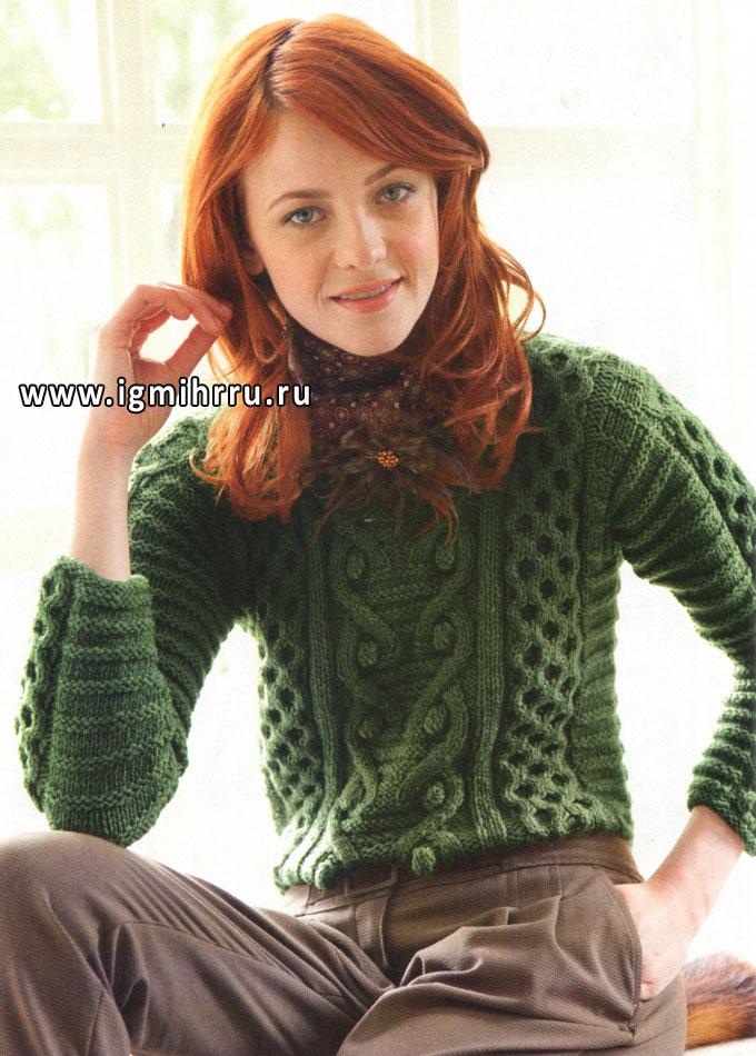 Теплый зеленый пуловер с миксом красивых узоров, от Lana Grossa. Спицы