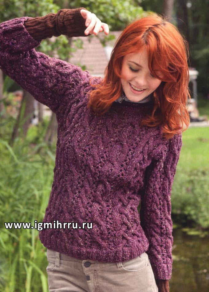 Узорный шерстяной пуловер из ежевичной меланжевой пряжи, от Lana Grossa. Спицы