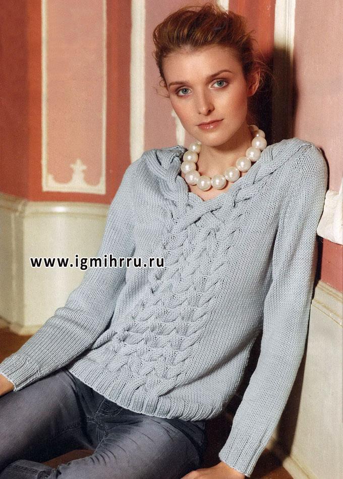 Светло-серый шерстяной пуловер с косами, от Verena. Спицы