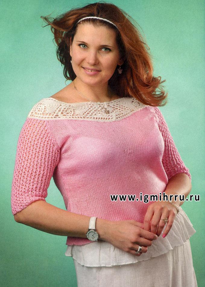Розовый пуловер с ажурной кокеткой и ажурными рукавами. Спицы