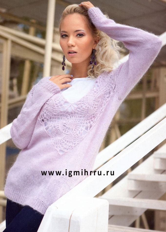 Светло-сиреневый мохеровый пуловер с ажурной кокеткой. Спицы и Крючок