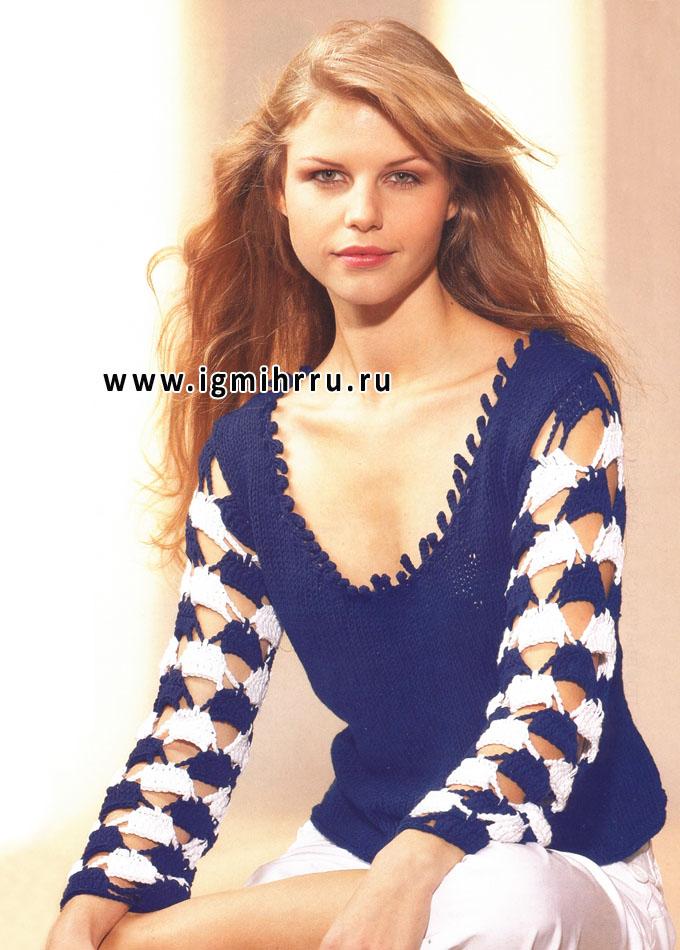 Модная графическая композиция. Пуловер с двухцветными рукавами. Спицы и Крючок