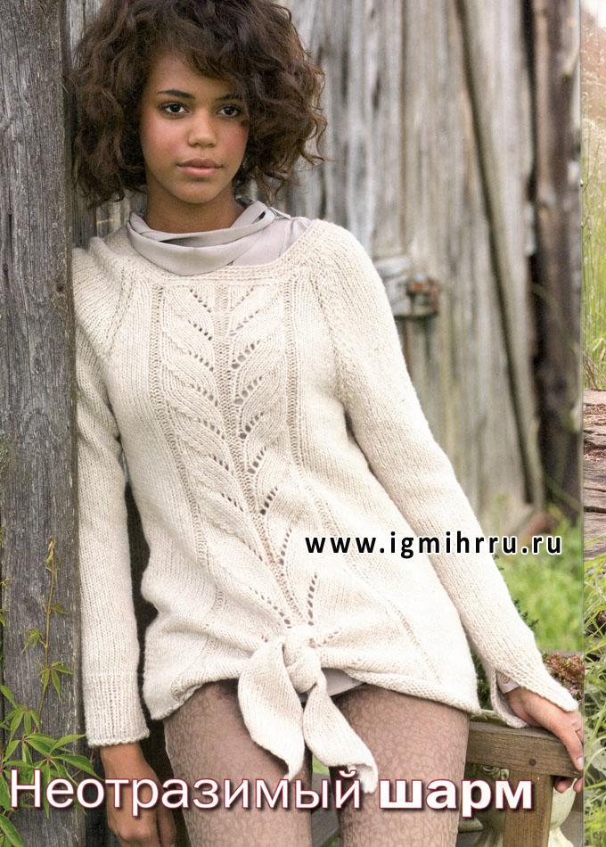 Белый пуловер из мериносовой шерсти, с завязками. Спицы