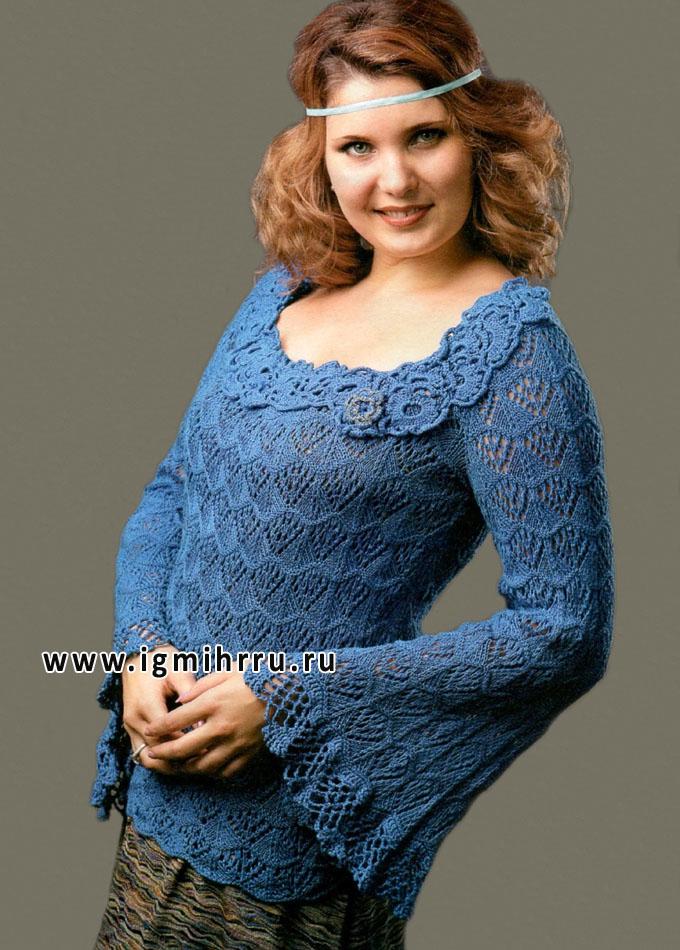Роскошный ажурный пуловер с кружевной каймой и декором из цветов. Спицы и Крючок