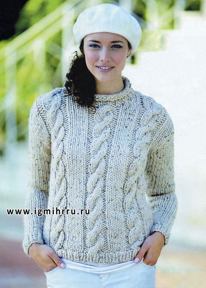 Объем и рельеф. Меланжевый пуловер с косами, от финских дизайнеров. Спицы