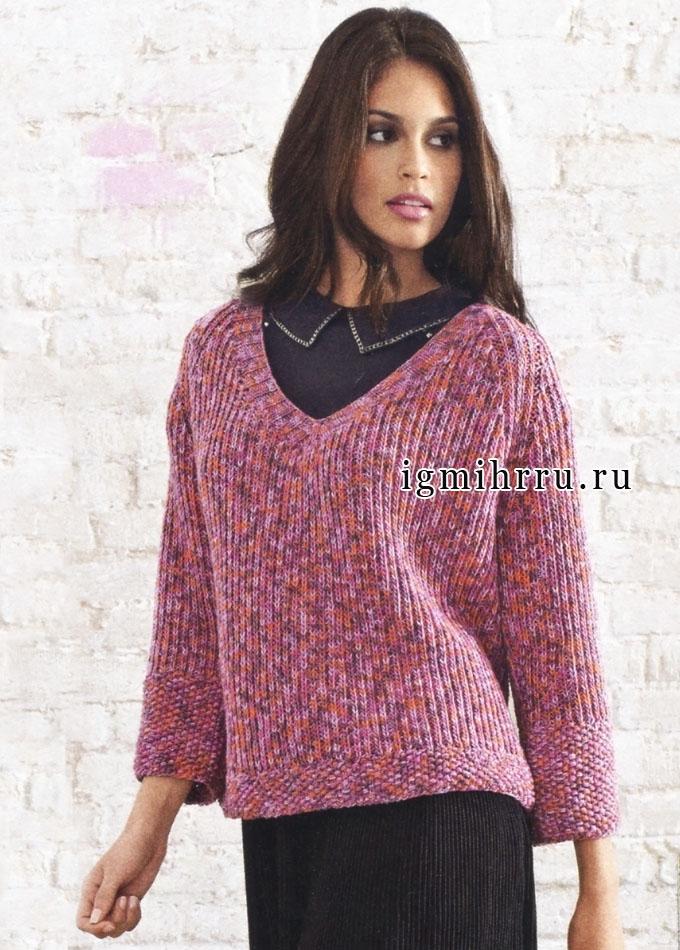 Элегантный пуловер-реглан из пряжи с красивыми цветовыми переходами, от Lana Grossa. Спицы
