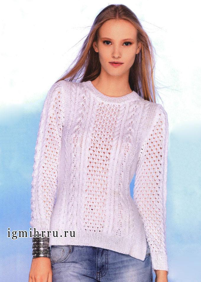 Белый пуловер с комбинацией ажурных узоров и кос, от французских дизайнеров. Спицы
