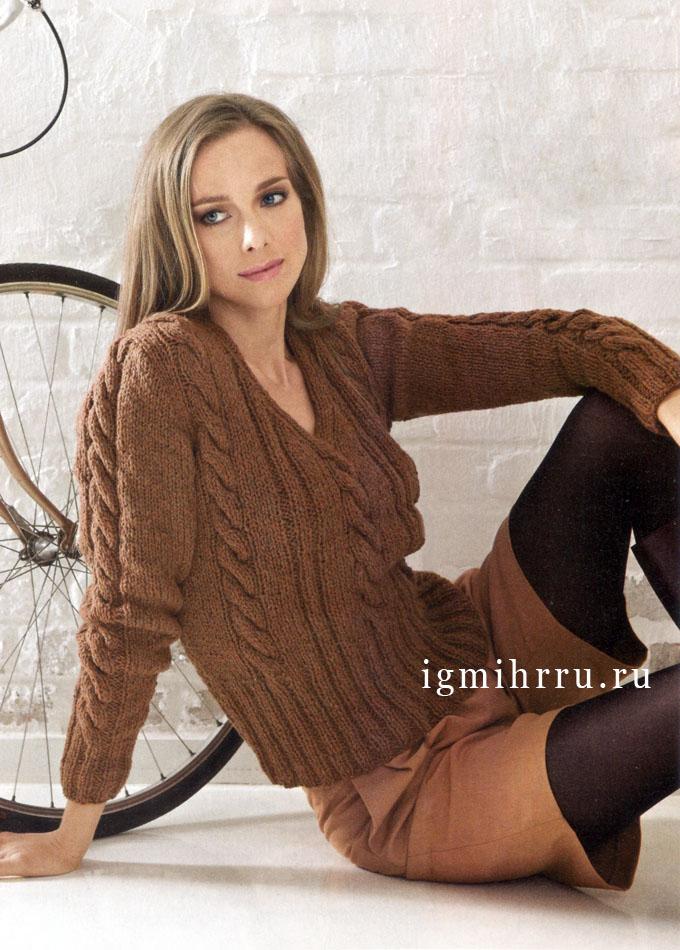 Теплый красно-коричневый пуловер с косами, Lana Grossa. Спицы