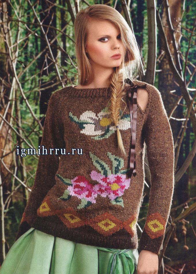 Для любительниц цветочных принтов. Эффектный пуловер с яркими цветами, от итальянских дизайнеров. Спицы