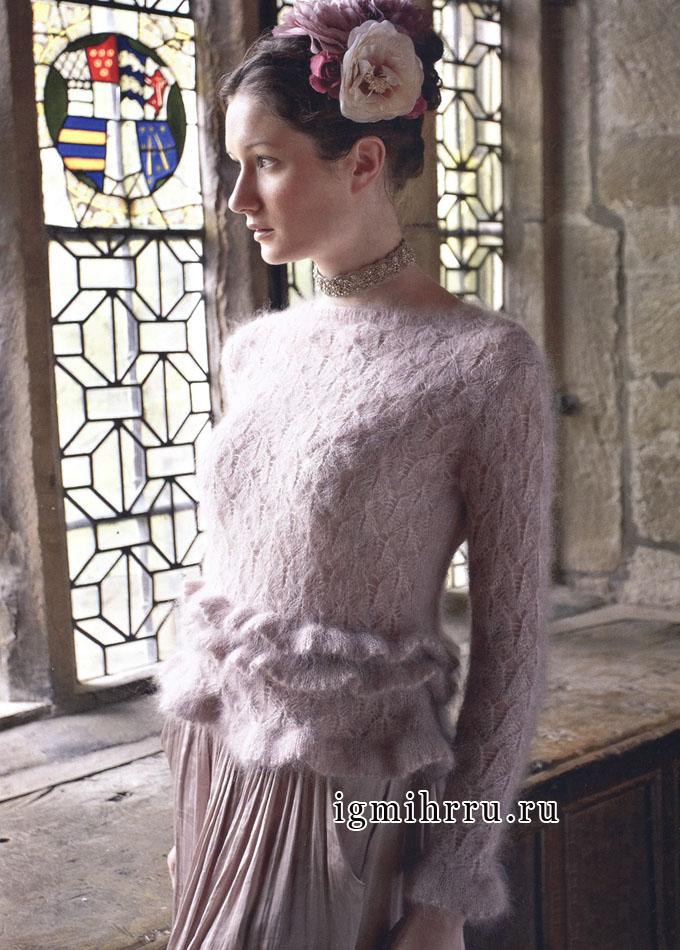 Изящный мохеровый джемпер нежно-розового цвета, от английских дизайнеров фирмы Rowan. Спицы