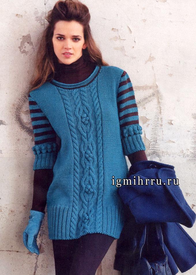Модная классика. Сине-зеленый пуловер с косами и полосатыми рукавами. Спицы