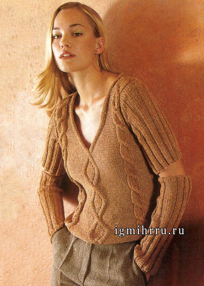 Шерстяной пуловер медно-красного цвета с отдельными рукавами. Спицы