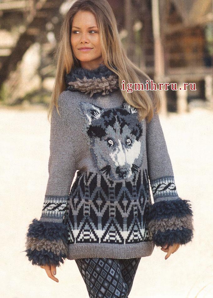 Пуловер с волком, жаккардовыми полосками и меховыми планками