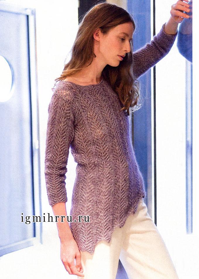 Ажурный лиловый пуловер с асимметричным краем, от Lana Grossa. Спицы