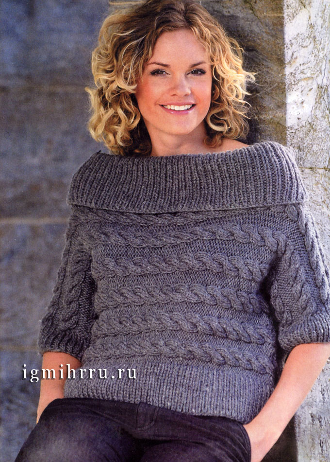 Серый пуловер с горизонтальными косами, связанный поперек, от финских дизайнеров. Спицы