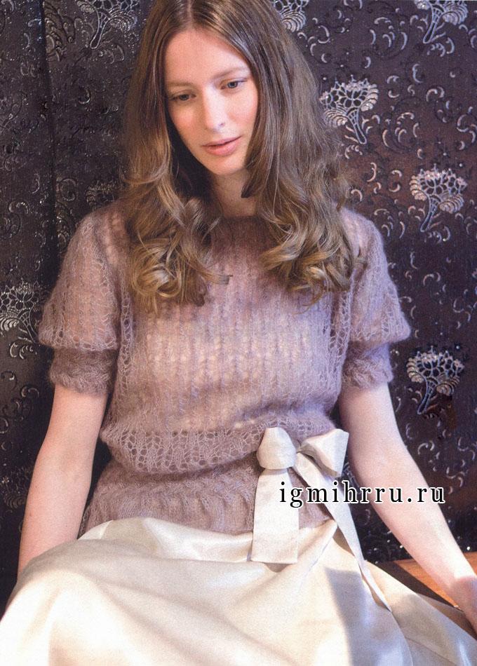 Нежный пуловер с ажурным узором, из королевского мохера. Спицы