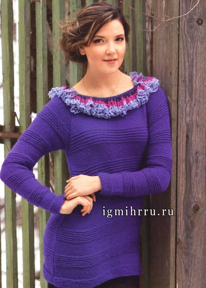 Женственная фиолетовая кофточка с воланом. Спицы