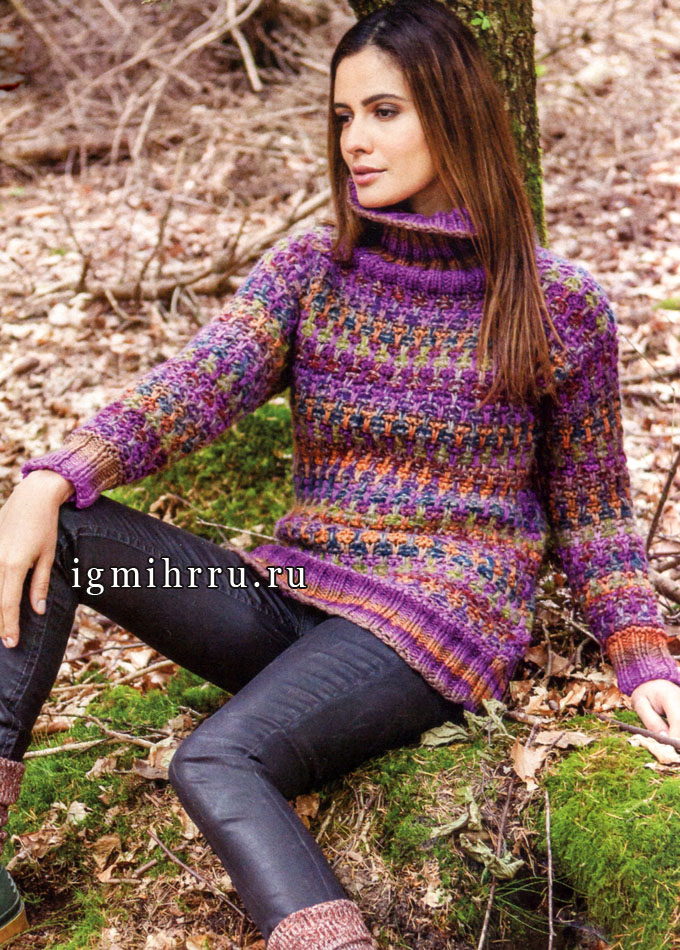 Шерстяной разноцветный пуловер с узором из снятых петель, от Lana Grossa. Спицы